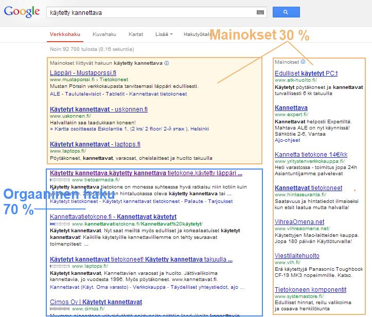 Google hakutulos